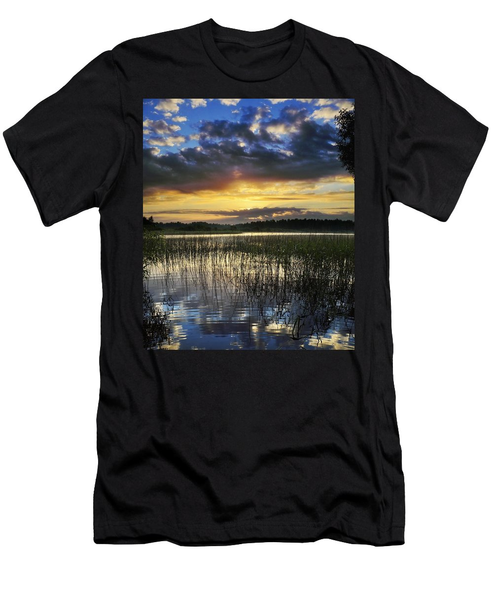 Cloud Men's T-Shirt (Athletic Fit) featuring the photograph Cloudy Sunrise by Vadzim Kandratsenkau