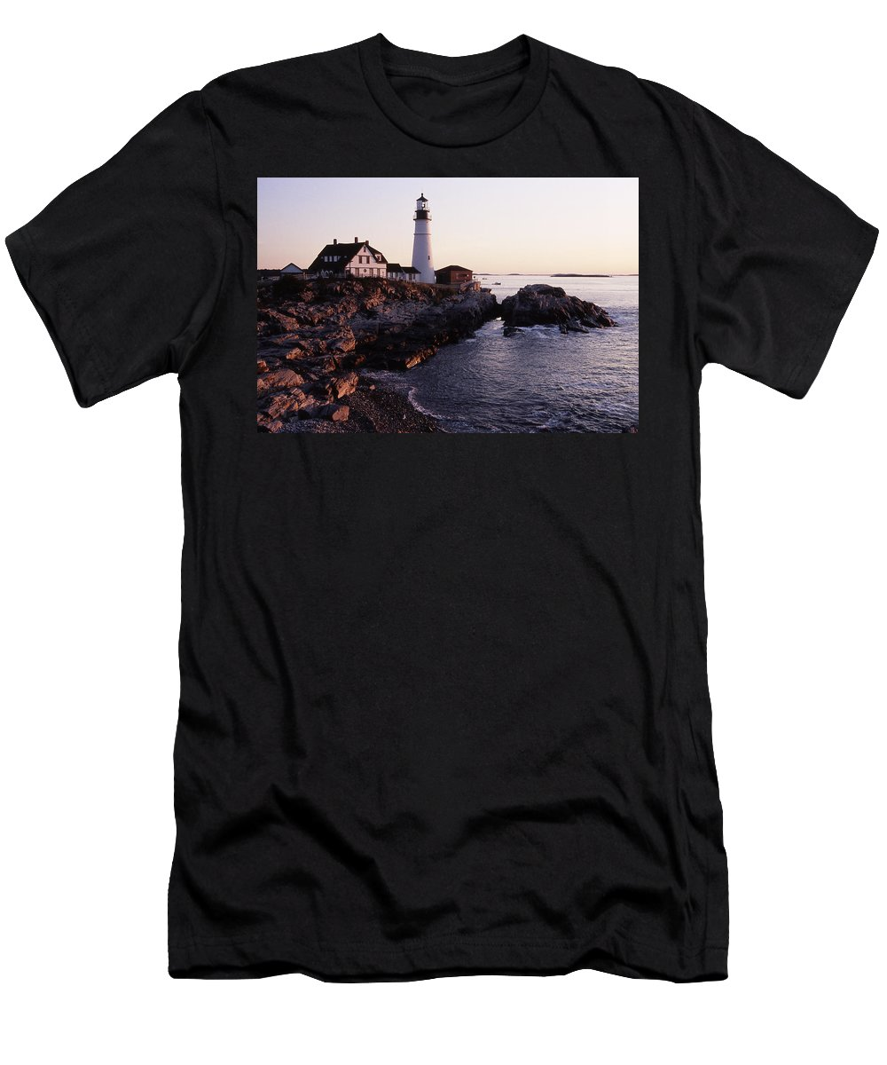Landscape Lighthouse Nautical New England Portland Head Light Cape Elizabeth Men's T-Shirt (Athletic Fit) featuring the photograph Cnrf0905 by Henry Butz