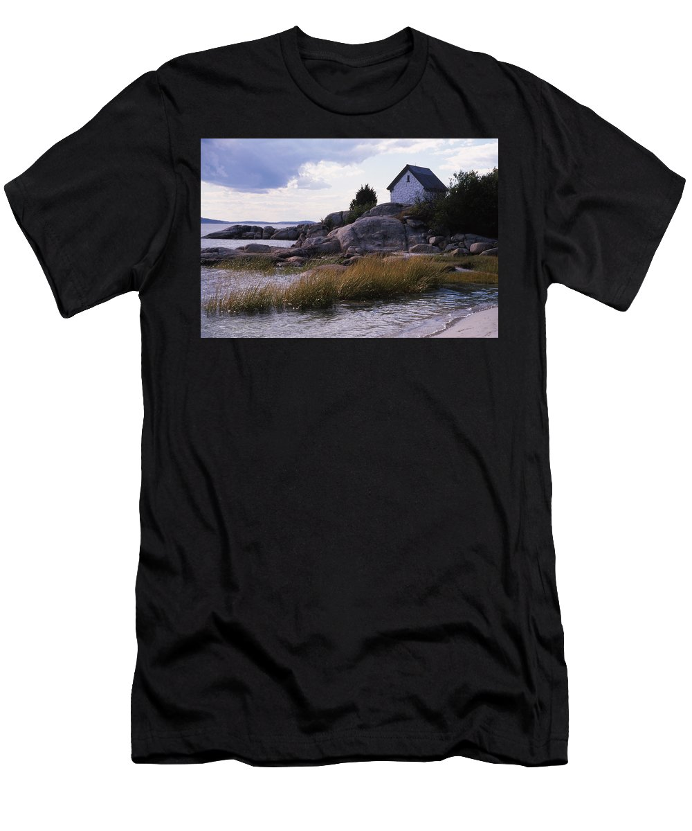 Landscape Beach Storm Men's T-Shirt (Athletic Fit) featuring the photograph Cnrf0909 by Henry Butz