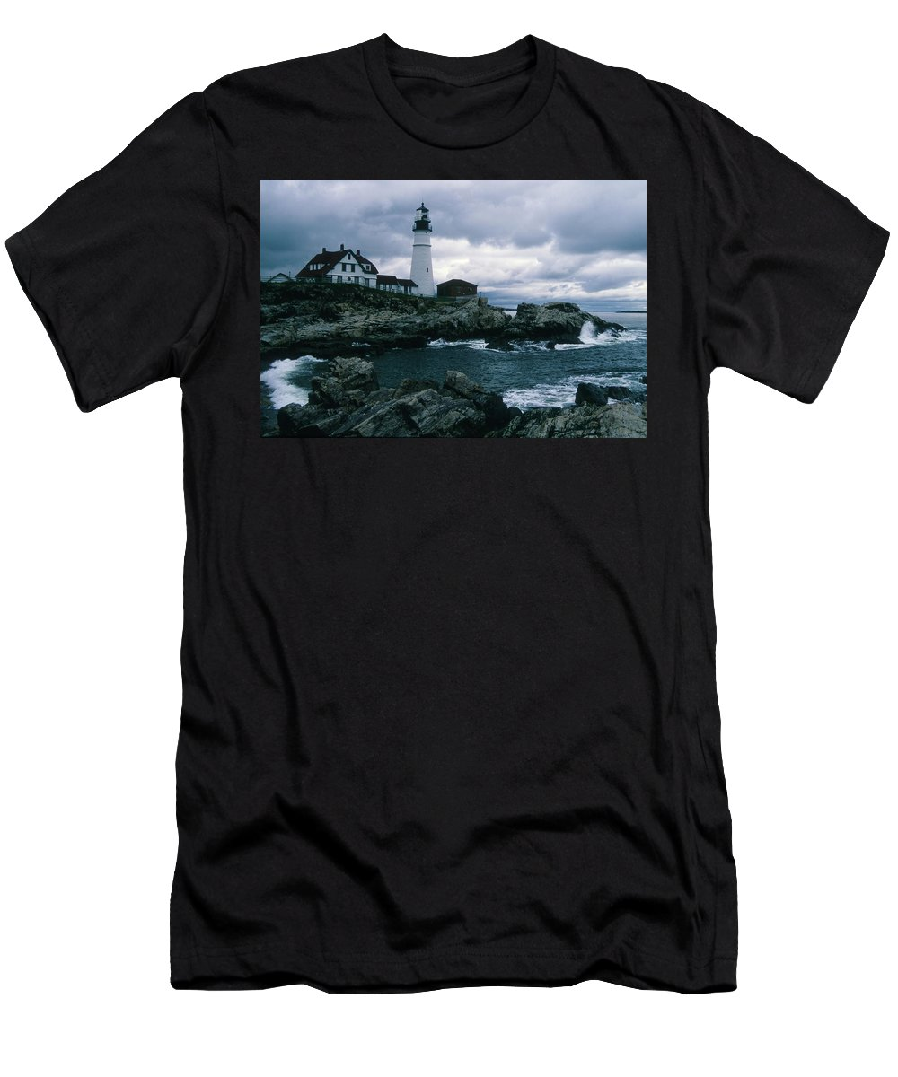Landscape New England Lighthouse Nautical Storm Coast Men's T-Shirt (Athletic Fit) featuring the photograph Cnrg0601 by Henry Butz