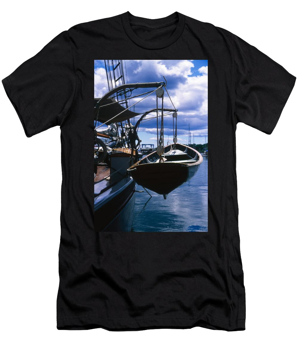 Landscape Camden Harbor Maine Sail Boat Harbor Nautical Men's T-Shirt (Athletic Fit) featuring the photograph Cnrh0601 by Henry Butz
