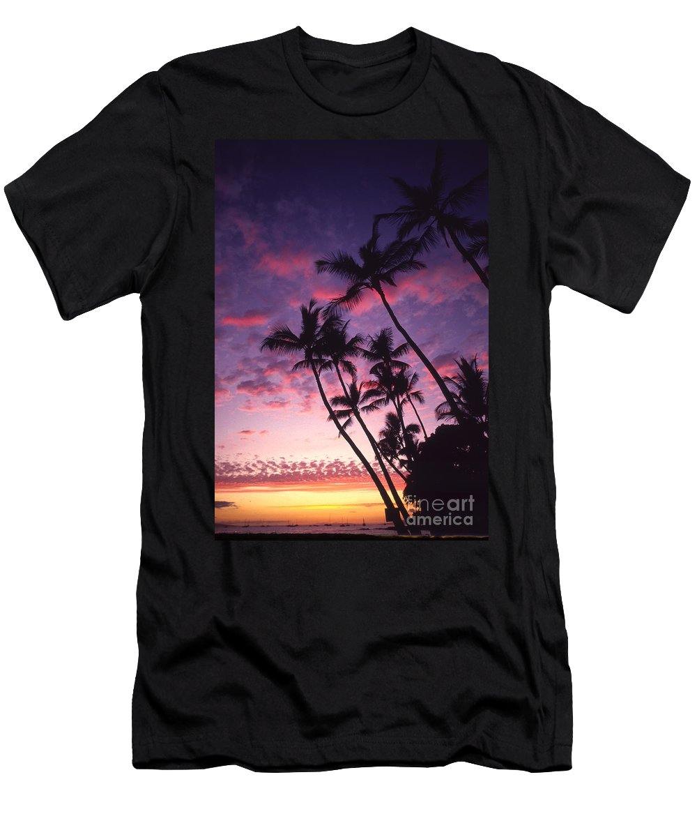 Boat Men's T-Shirt (Athletic Fit) featuring the photograph Coastline Palms by Ron Dahlquist - Printscapes
