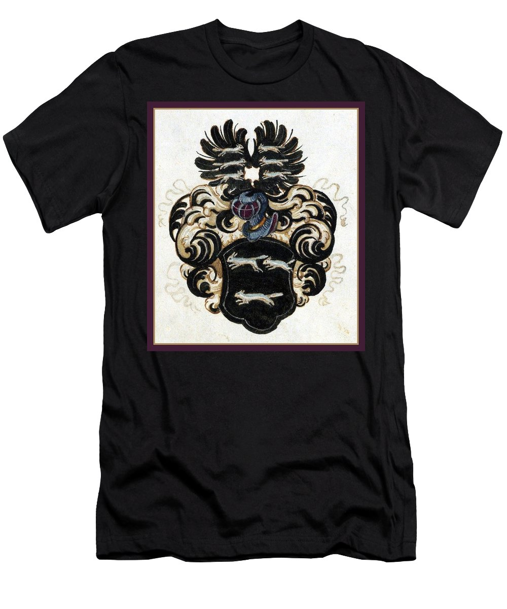 Coat Of Arms. Men's T-Shirt (Athletic Fit) featuring the digital art Coat Of Arms Black by Blanca Medina