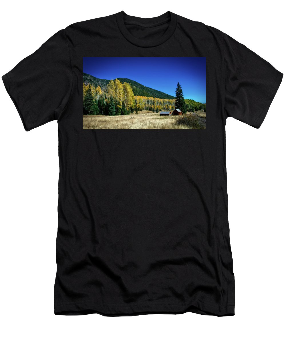 Coconino Men's T-Shirt (Athletic Fit) featuring the photograph Coconino National Forest by Deborah Lee Soltesz