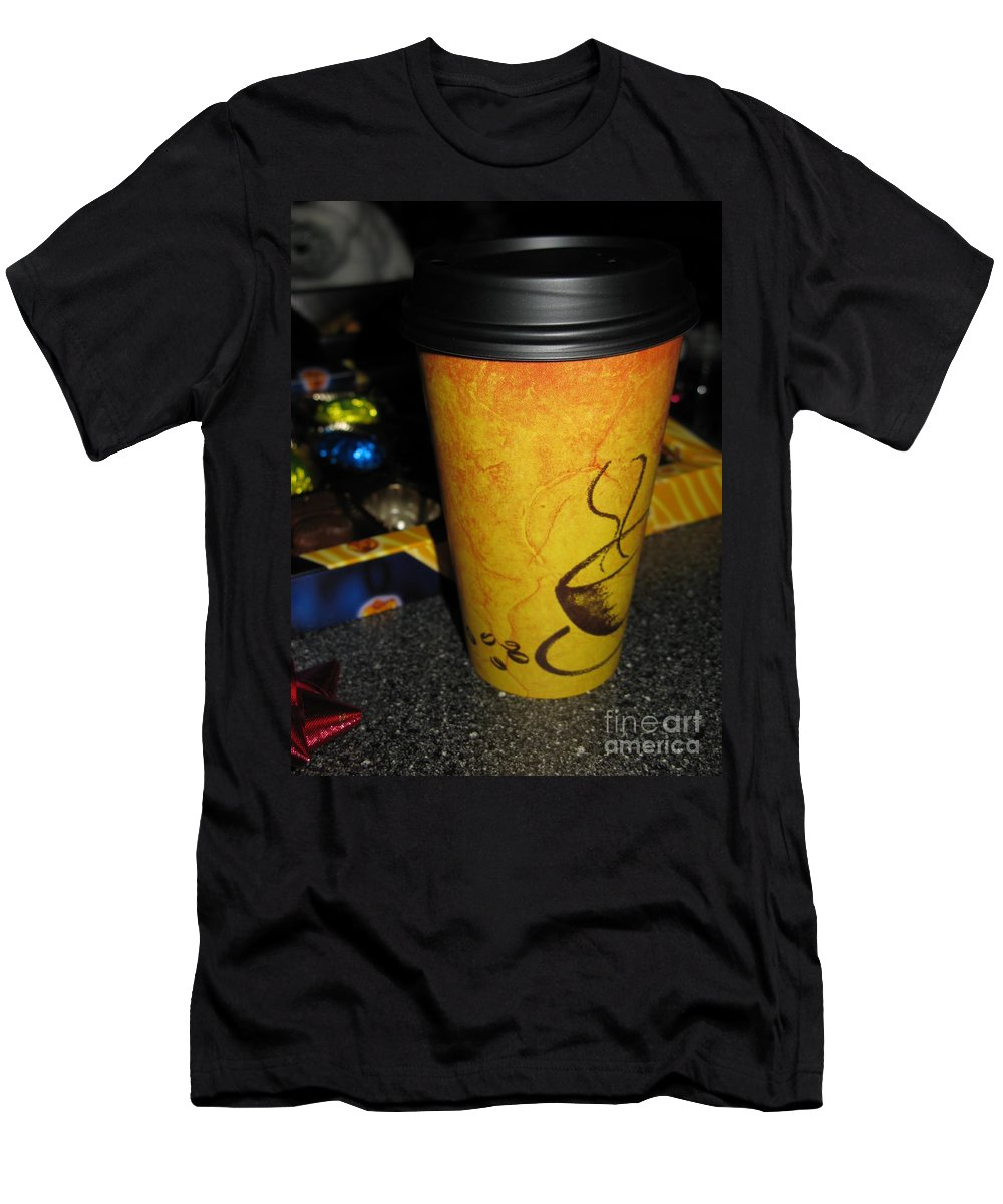 Coffee Men's T-Shirt (Athletic Fit) featuring the photograph Coffee Cup Series. Yellow And Orange. by Ausra Huntington nee Paulauskaite