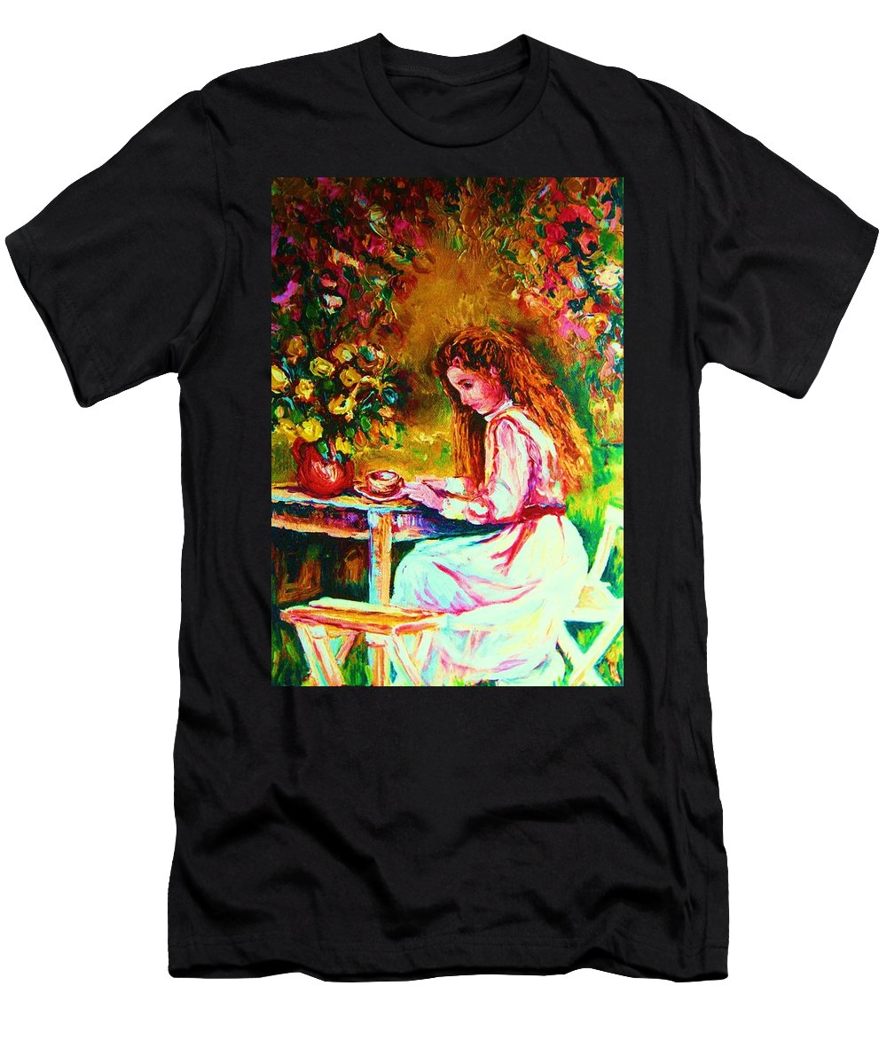 Impressionism Men's T-Shirt (Athletic Fit) featuring the painting Coffee In The Garden by Carole Spandau