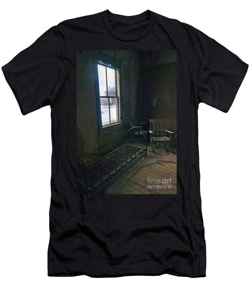 Bodie California Men's T-Shirt (Athletic Fit) featuring the photograph Cold Window Light by Norman Andrus
