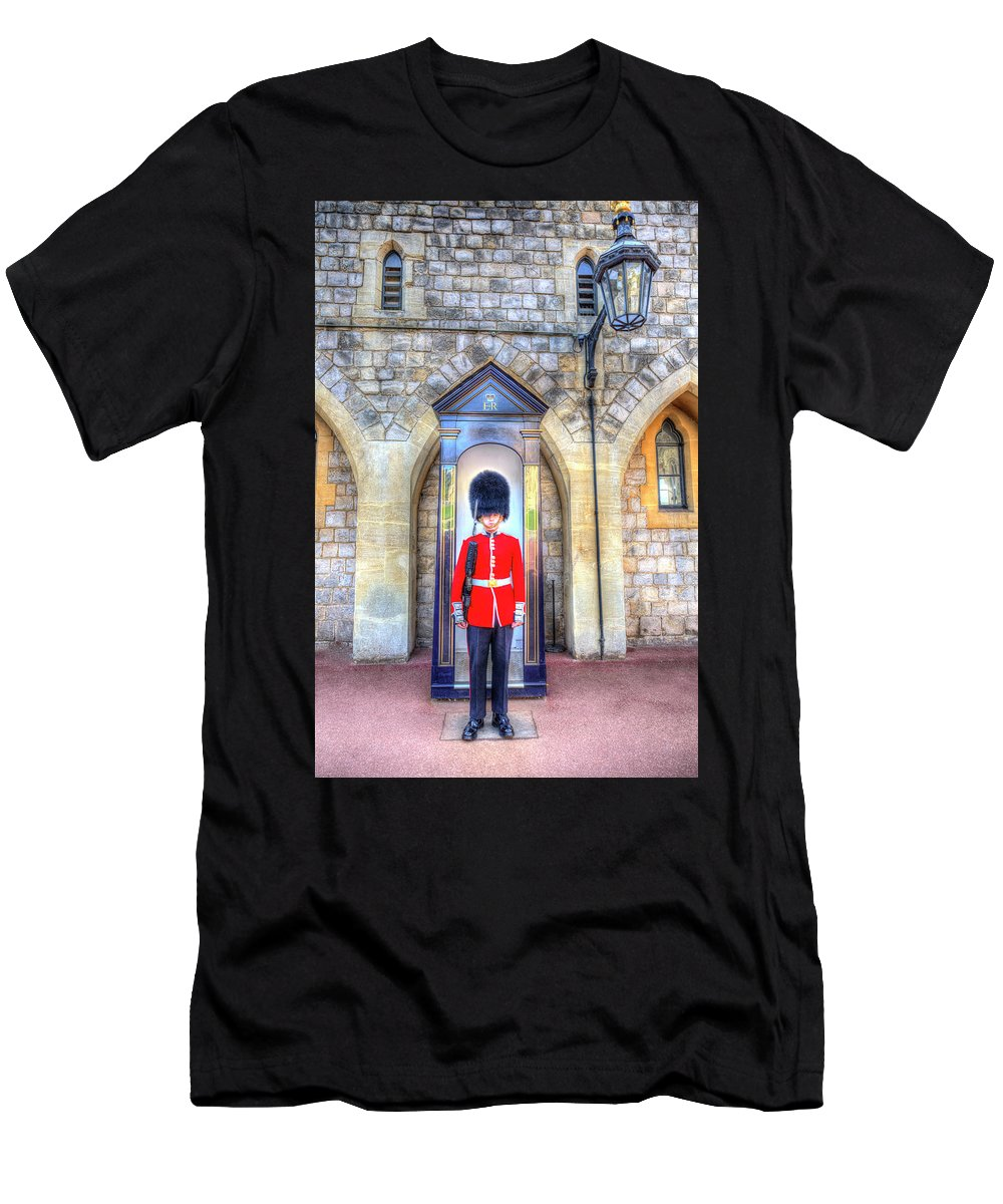 Windsor Castle Men's T-Shirt (Athletic Fit) featuring the photograph Coldstream Guard by David Pyatt