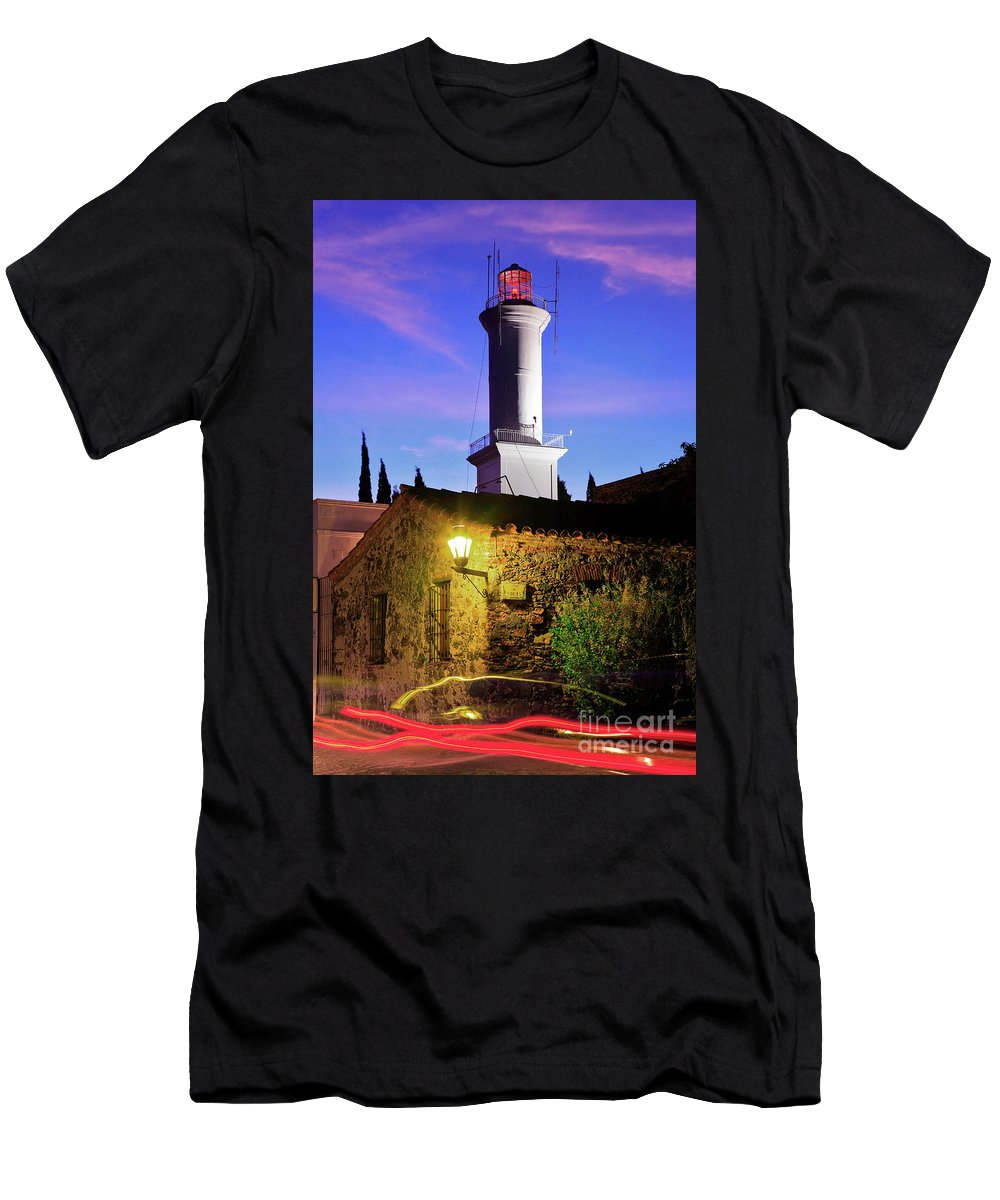 Colonia Del Sacramento Men's T-Shirt (Athletic Fit) featuring the photograph Colonia Lighthouse by Bernardo Galmarini