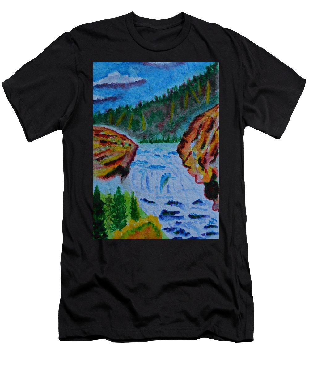 Color At The Firehole Men's T-Shirt (Athletic Fit) featuring the painting Color At The Firehole by Warren Thompson