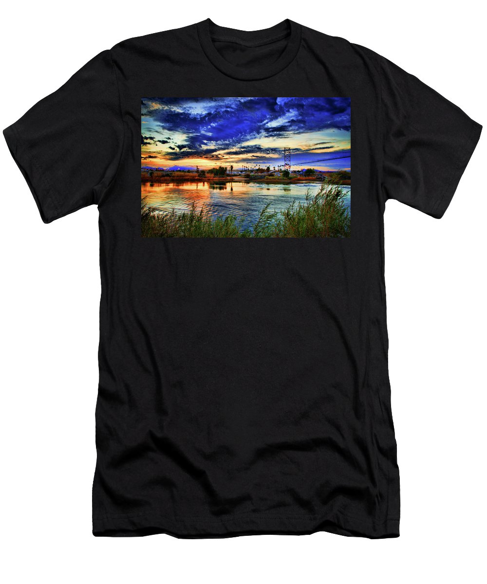 River Men's T-Shirt (Athletic Fit) featuring the photograph Colorado River Sunrise by La Rae Roberts