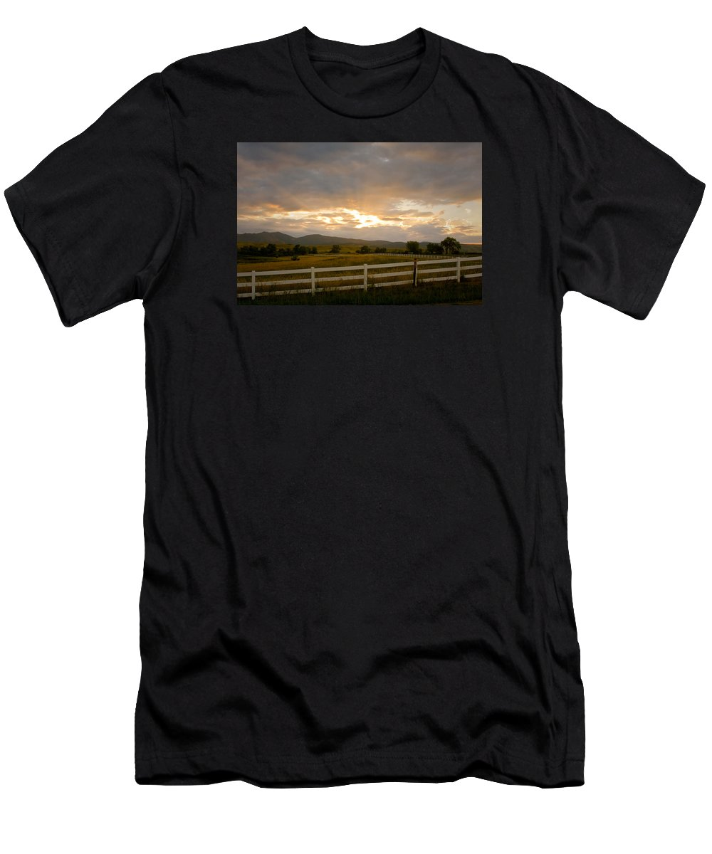 Bo Insogna Men's T-Shirt (Athletic Fit) featuring the photograph Colorado Rocky Mountain Country Sunset by James BO Insogna