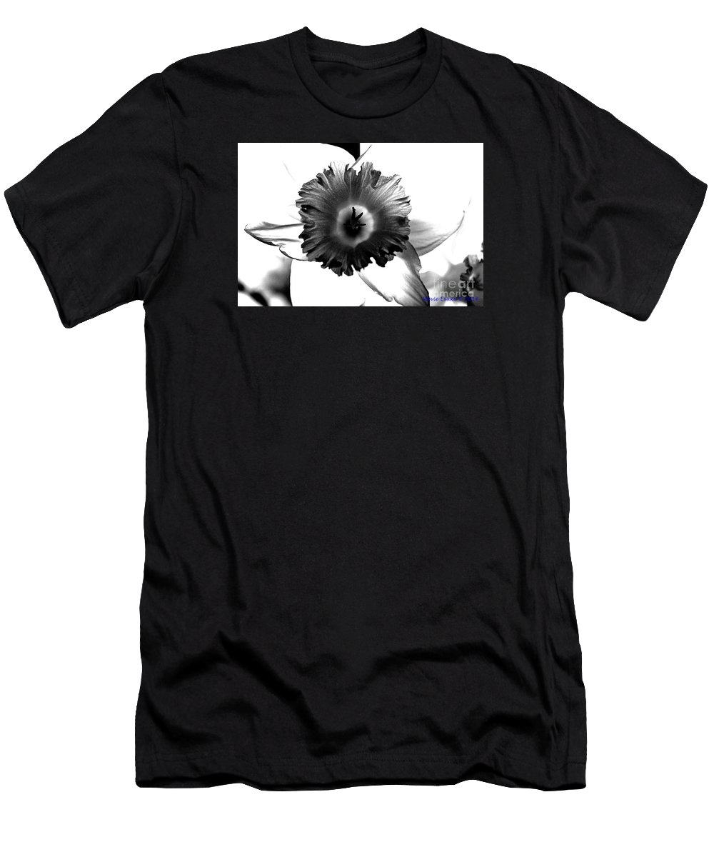 Bw black & White Modern Edge Daffodil Nature Bloom Flower Photograph T-Shirt featuring the photograph ColorBlind. by Stevie Ellis