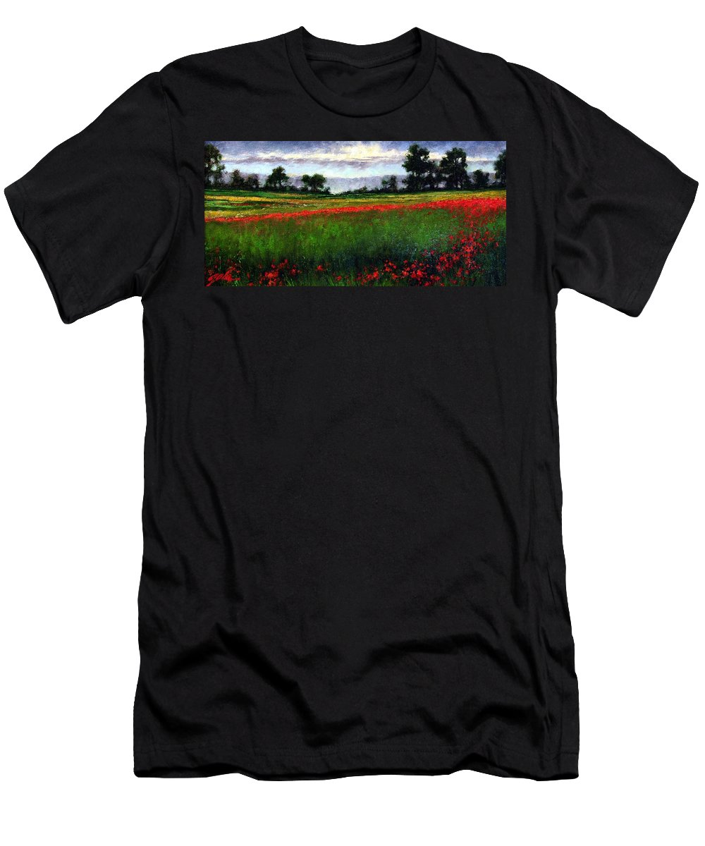 Landscape T-Shirt featuring the painting Colorburst by Jim Gola