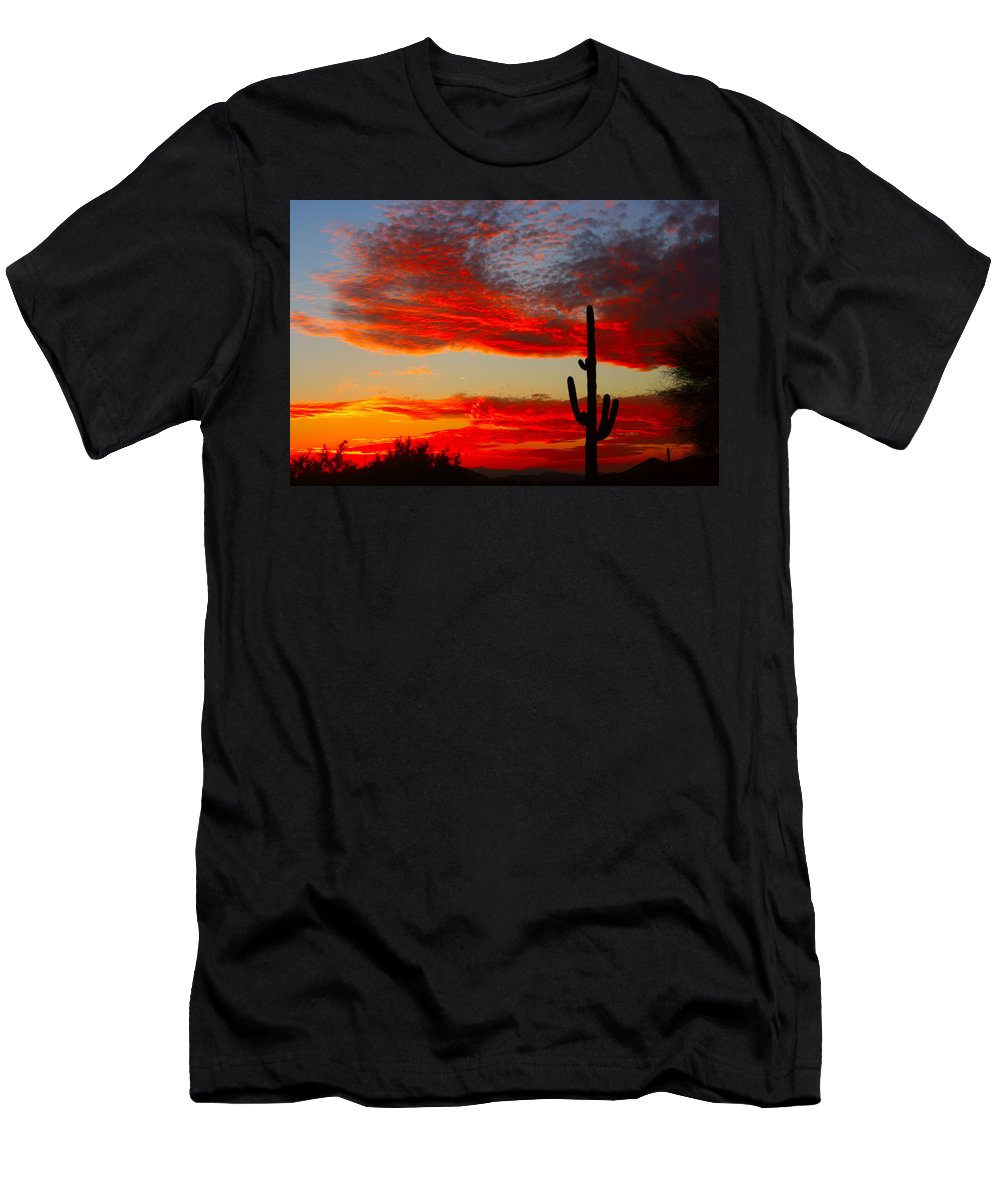 Sunsets Men's T-Shirt (Athletic Fit) featuring the photograph Colorful Arizona Sunset by James BO Insogna