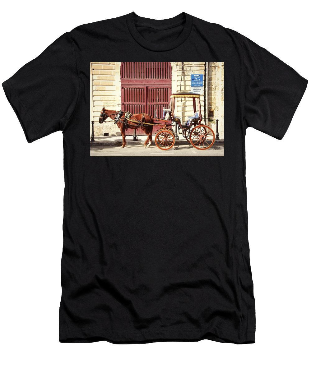 Horse Men's T-Shirt (Athletic Fit) featuring the photograph Colorful Cabs Of Malta by David Coleman