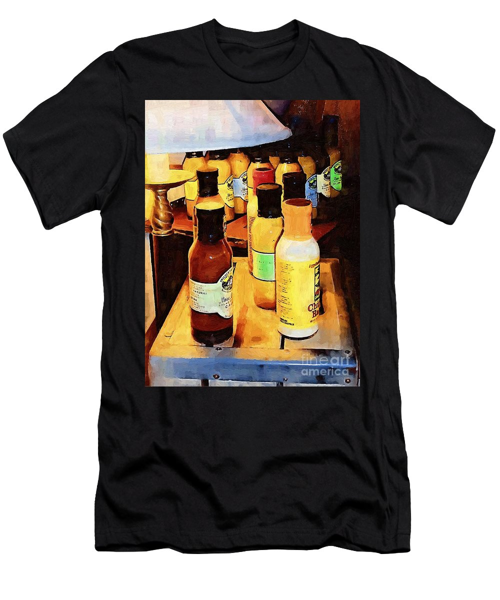 Bottles Men's T-Shirt (Athletic Fit) featuring the painting Colorful Culinary Collection by RC DeWinter