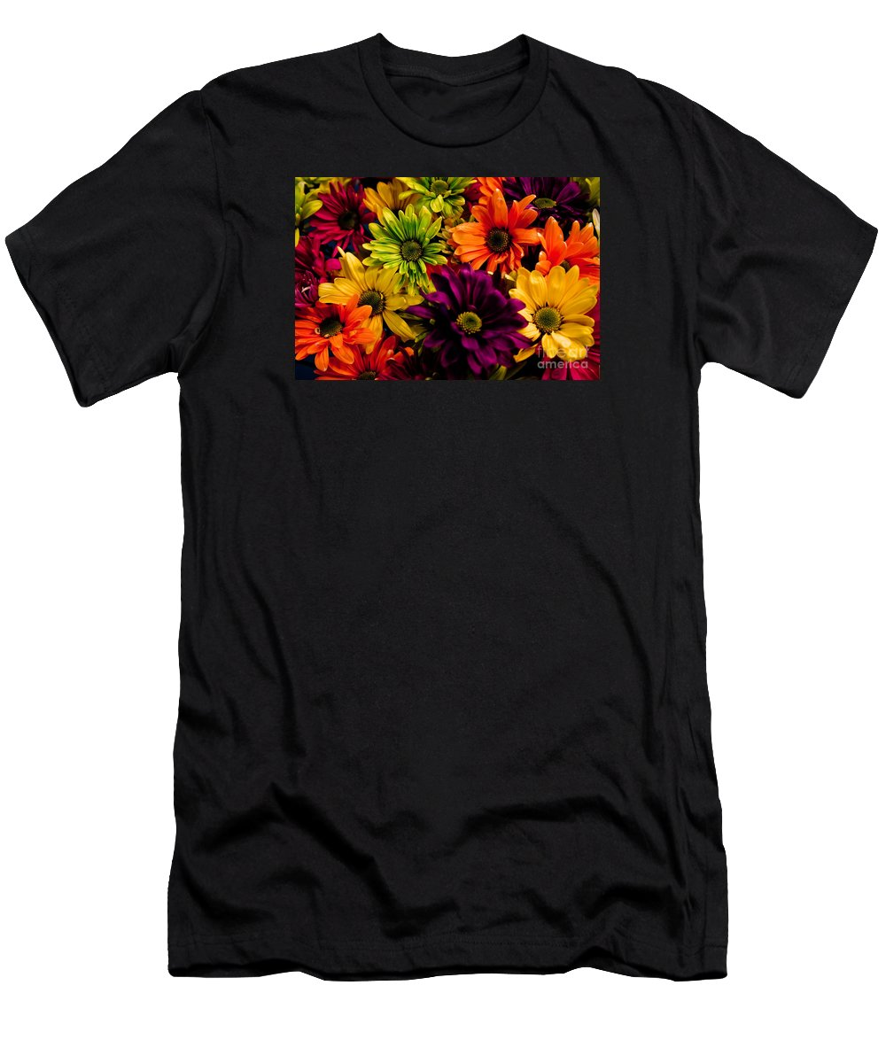 Daisies Men's T-Shirt (Athletic Fit) featuring the photograph Colorful Daisies by Robin Lynne Schwind