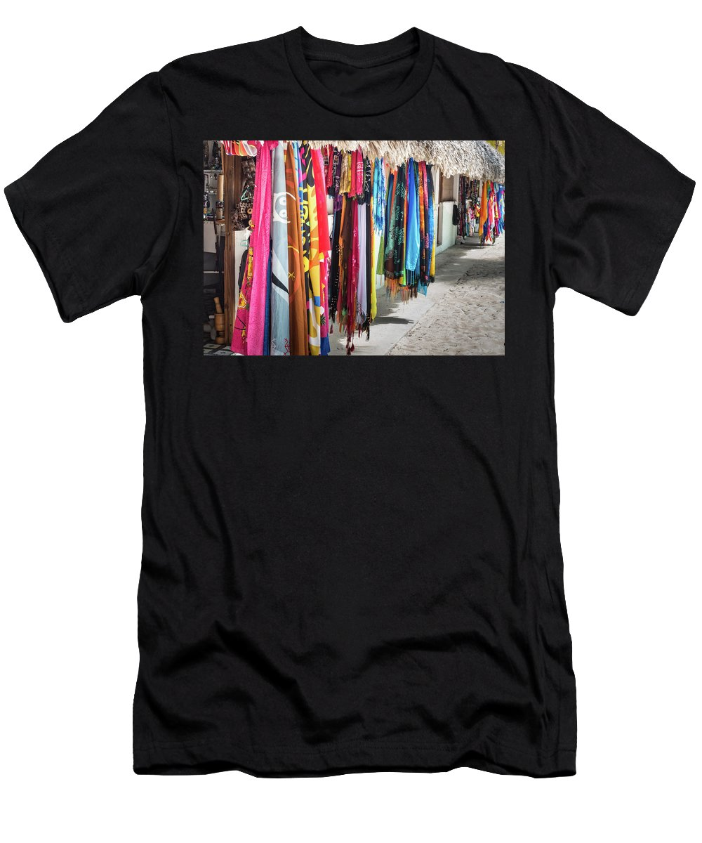 Architecture Men's T-Shirt (Athletic Fit) featuring the photograph Colorful Dominican Garments by David A Litman