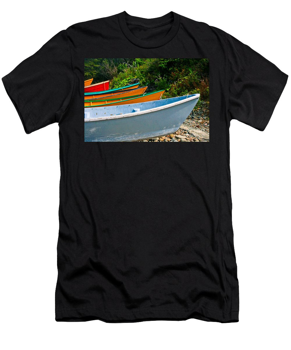 Fishing Men's T-Shirt (Athletic Fit) featuring the photograph Colorful Fishing Boats On A Rocky Shore Grand Manan by Thomas Marchessault
