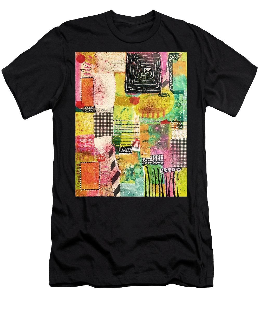 Pink Men's T-Shirt (Athletic Fit) featuring the mixed media Colorful Geometric by Tresa Steenberg