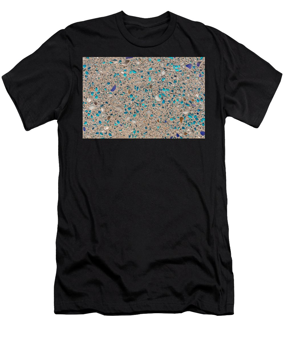 Glass Men's T-Shirt (Athletic Fit) featuring the photograph Colorful Glass Recycled For Construction Of Concrete Sidewalk by Thomas Baker