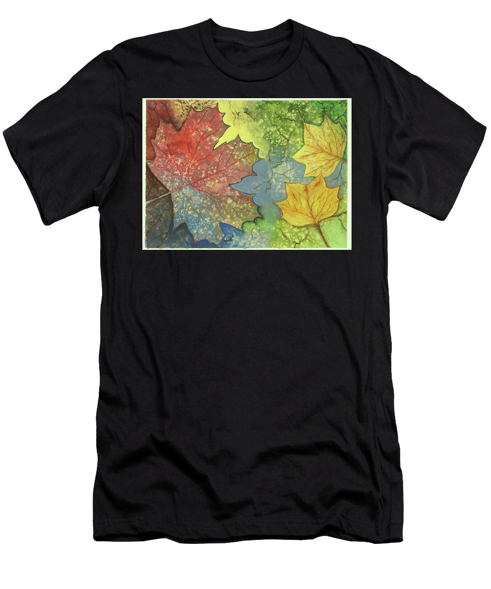 Trees Men's T-Shirt (Athletic Fit) featuring the painting Colorful Leaves by Eileen Blair
