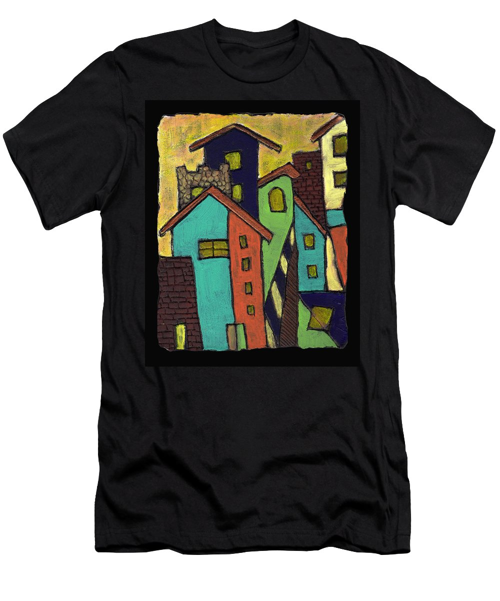 City Men's T-Shirt (Athletic Fit) featuring the painting Colorful Neighborhood by Wayne Potrafka