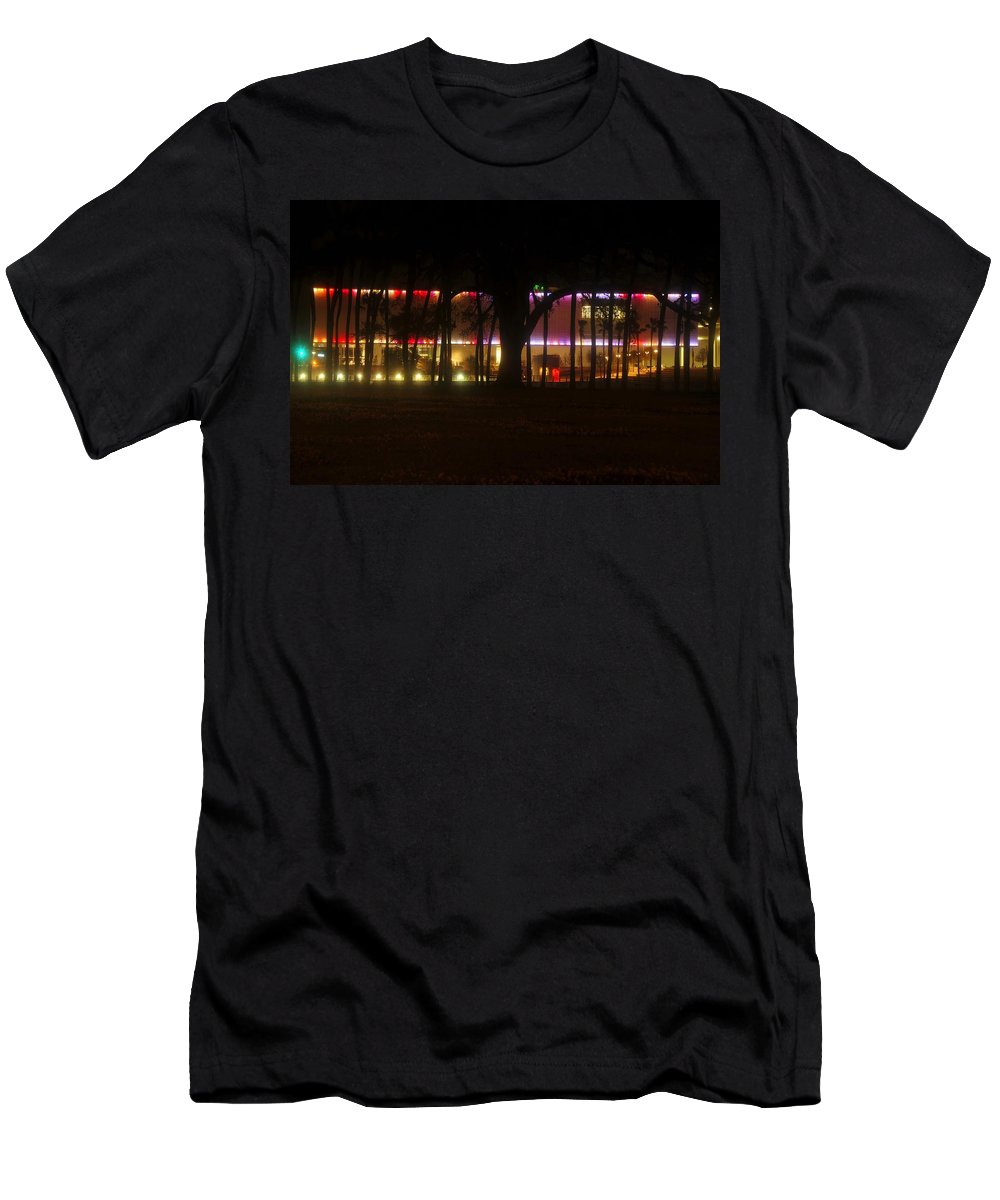 Tampa Bay Florida Men's T-Shirt (Athletic Fit) featuring the photograph Colorful Tampa Bay Night by David Lee Thompson