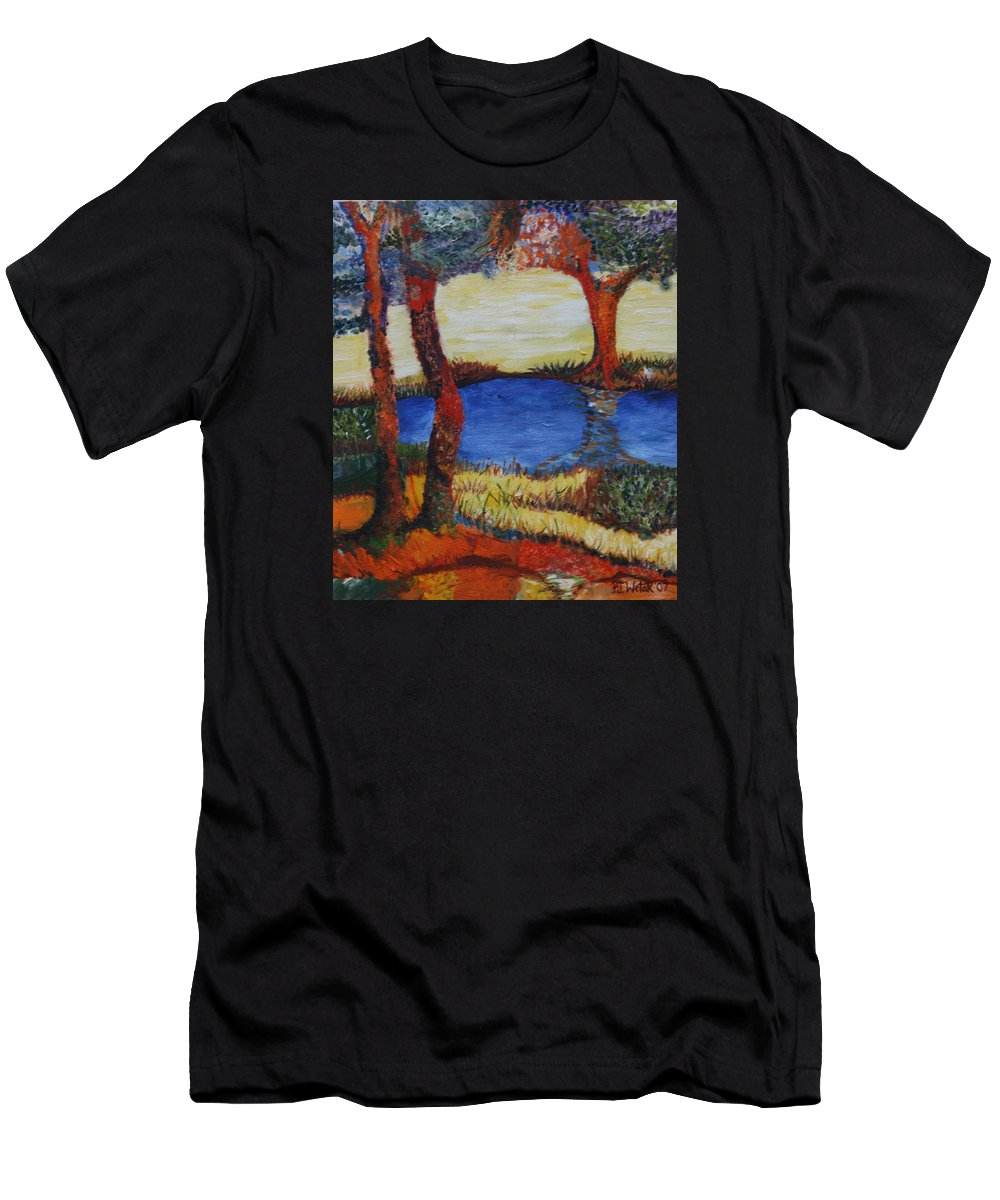 Colorful Trees Men's T-Shirt (Athletic Fit) featuring the painting Colorful Trees by PJ Wetak