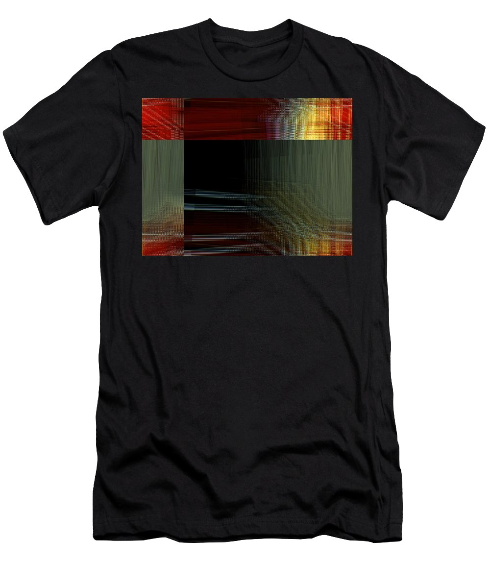 Abstract Men's T-Shirt (Athletic Fit) featuring the digital art Colors Along The River Abstract by Lenore Senior