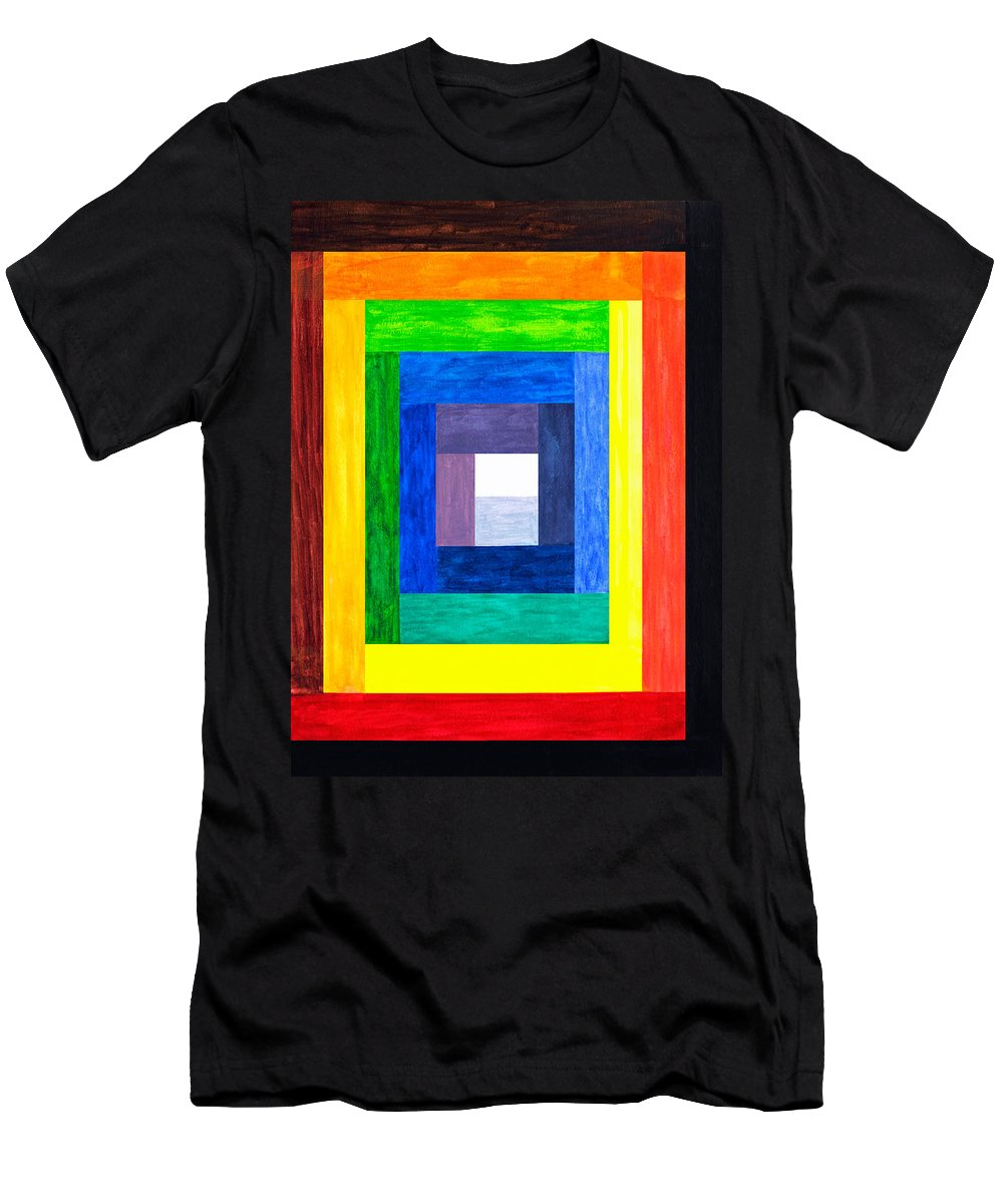 Rectangle Men's T-Shirt (Athletic Fit) featuring the painting Colors Into One by Lee Serenethos
