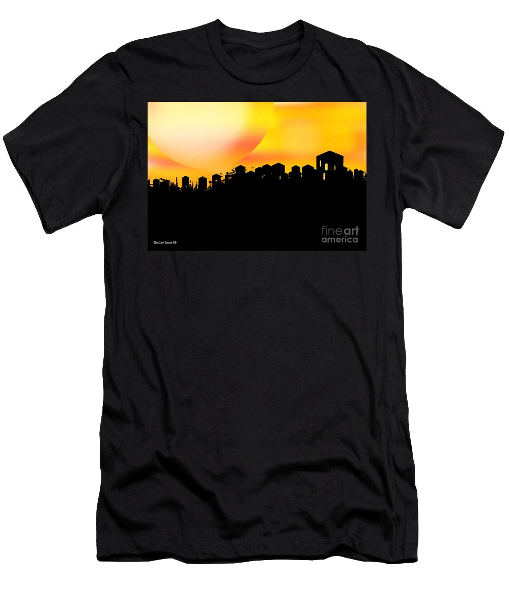 Sunset Men's T-Shirt (Athletic Fit) featuring the digital art Colossal Ending by Shelley Jones