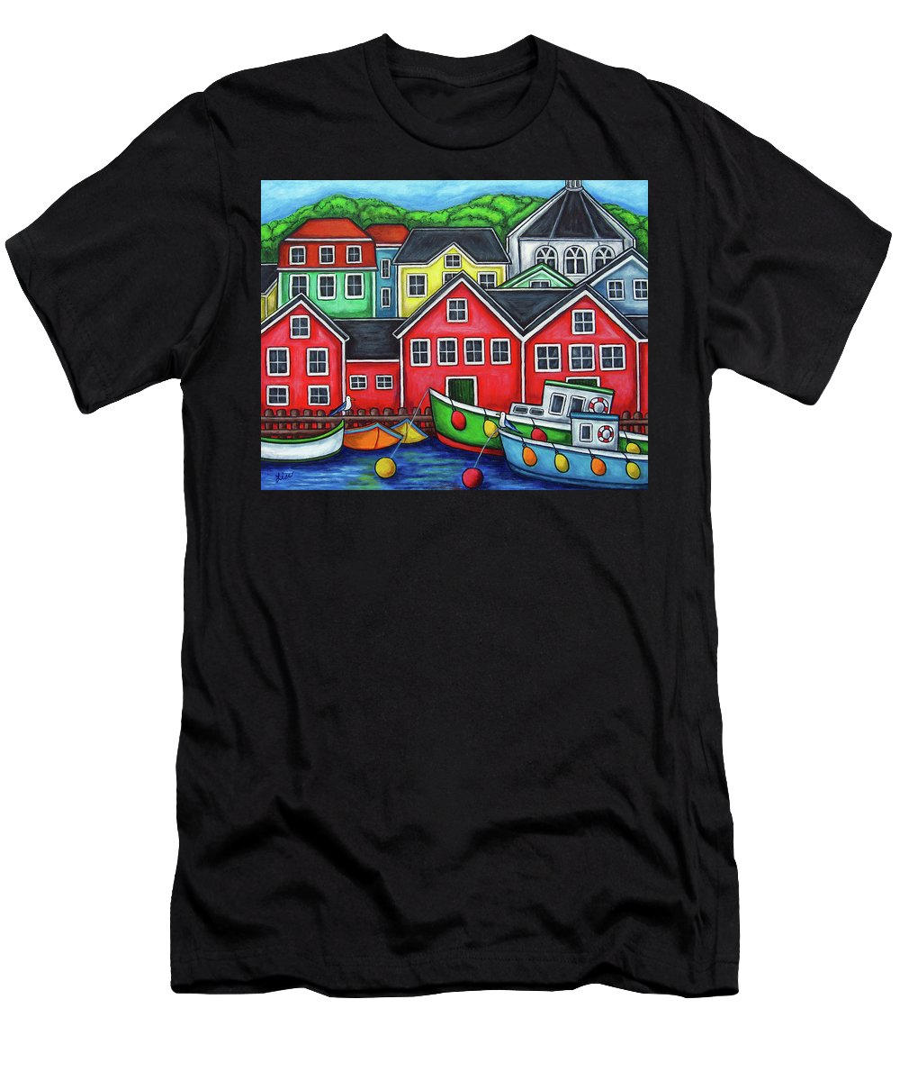 Nova Scotia T-Shirt featuring the painting Colours of Lunenburg by Lisa Lorenz