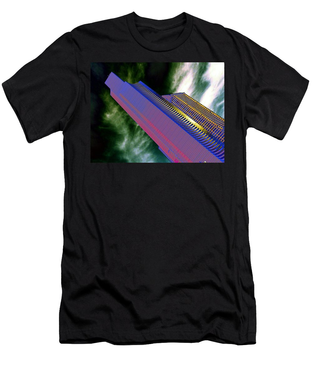 Seattle Men's T-Shirt (Athletic Fit) featuring the digital art Columbia And Municipal Towers Seattle Wa by Tim Allen