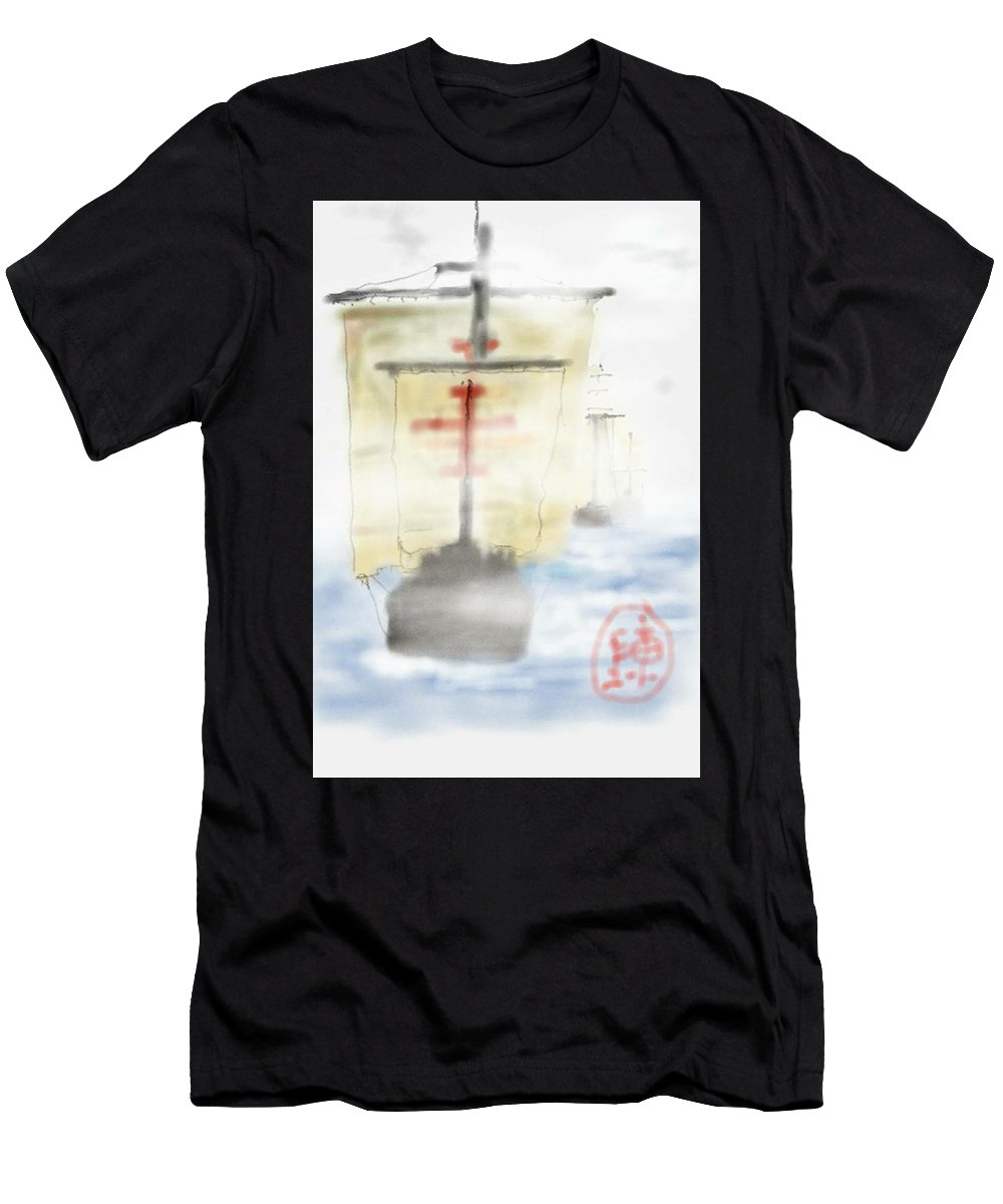 History. Ships. Columbus. Ships Men's T-Shirt (Athletic Fit) featuring the digital art Columbus Sailed by Debbi Saccomanno Chan