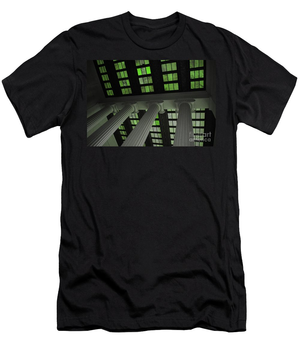 Lincoln Men's T-Shirt (Athletic Fit) featuring the photograph Column Stain Green by Jost Houk