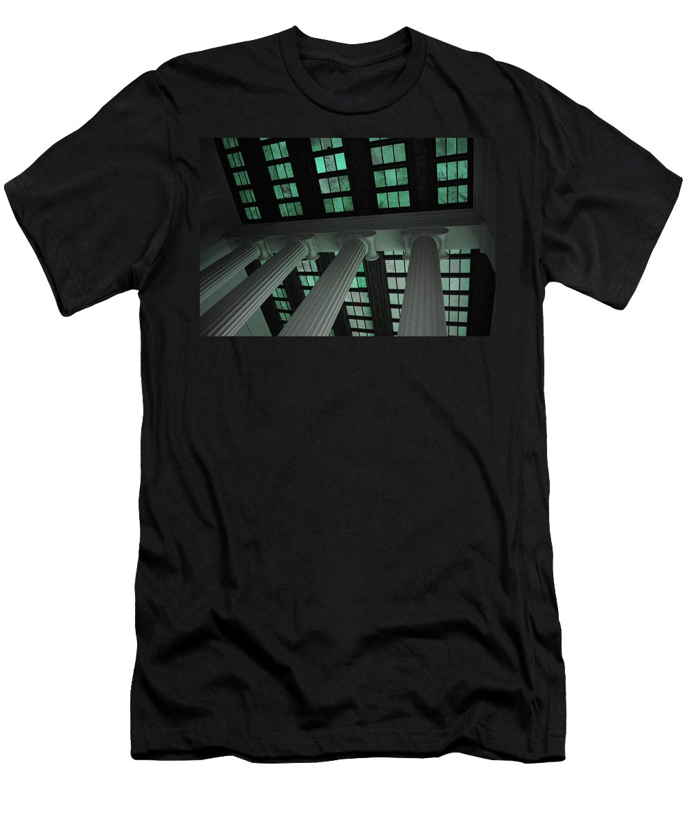 Lincoln Men's T-Shirt (Athletic Fit) featuring the photograph Column Stain Teal by Jost Houk