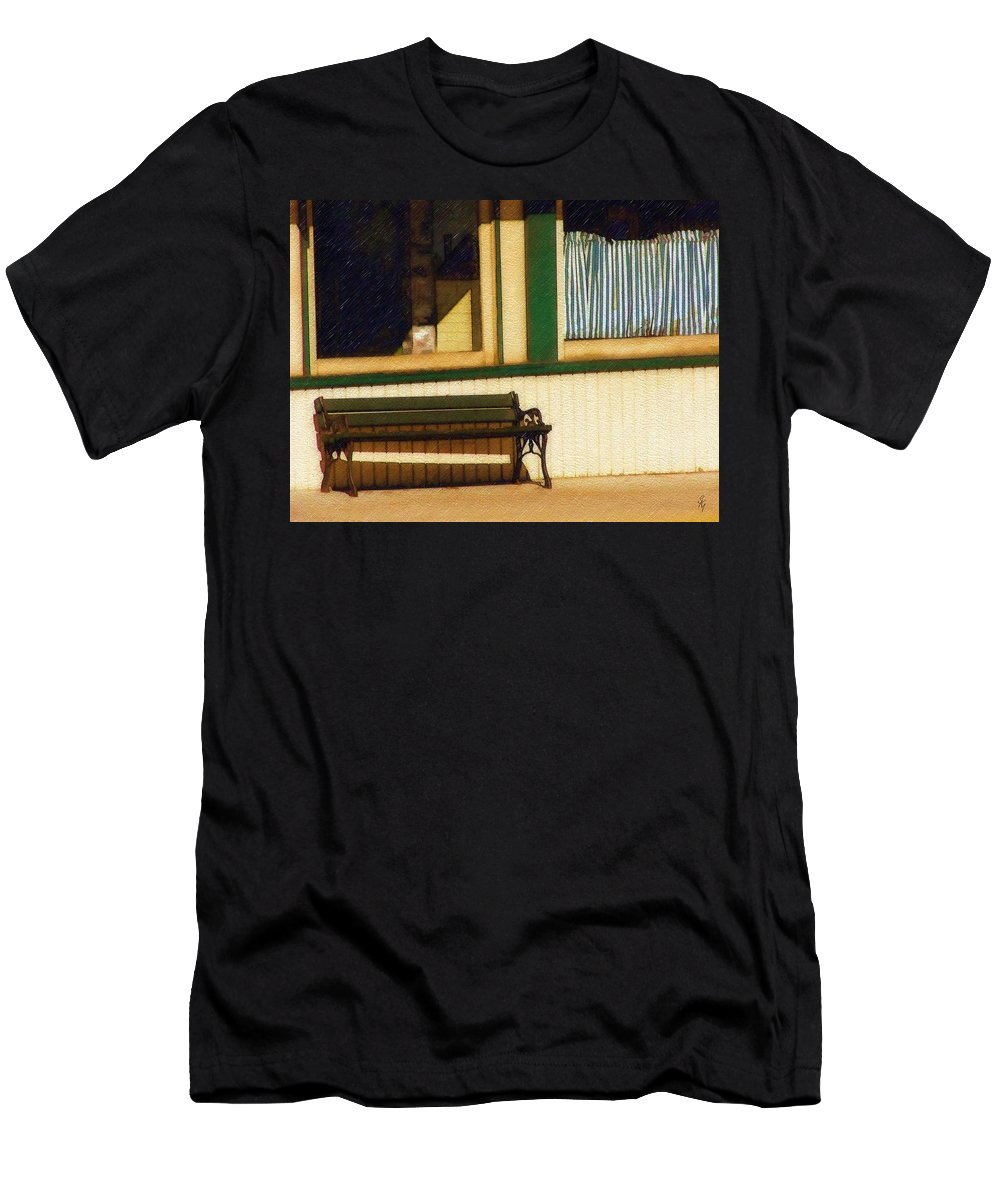 Bench Men's T-Shirt (Athletic Fit) featuring the photograph Come Sit A Spell by Sandy MacGowan
