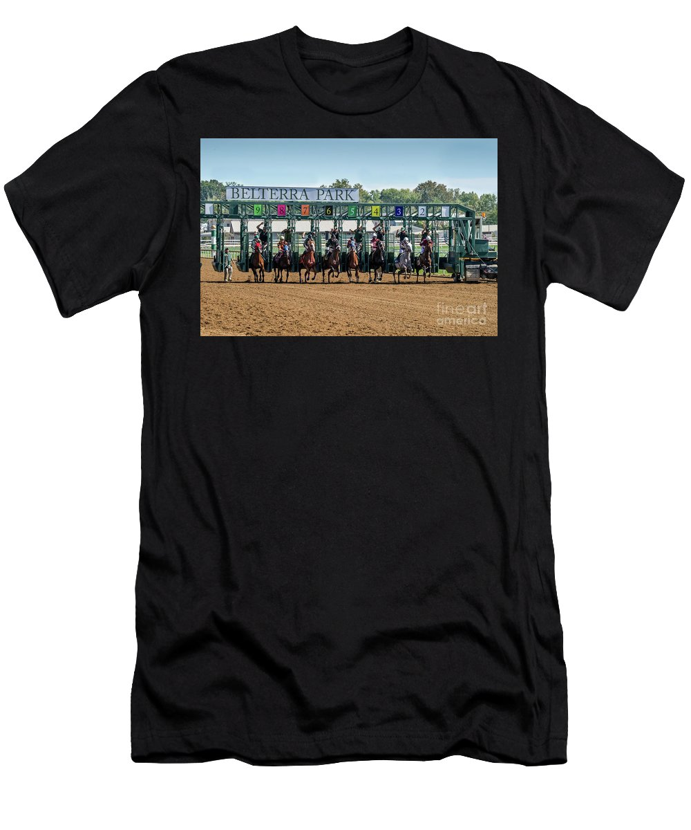 Belterra Horse Park Racing Men's T-Shirt (Athletic Fit) featuring the photograph Coming Out Of The Gate by Ed Taylor