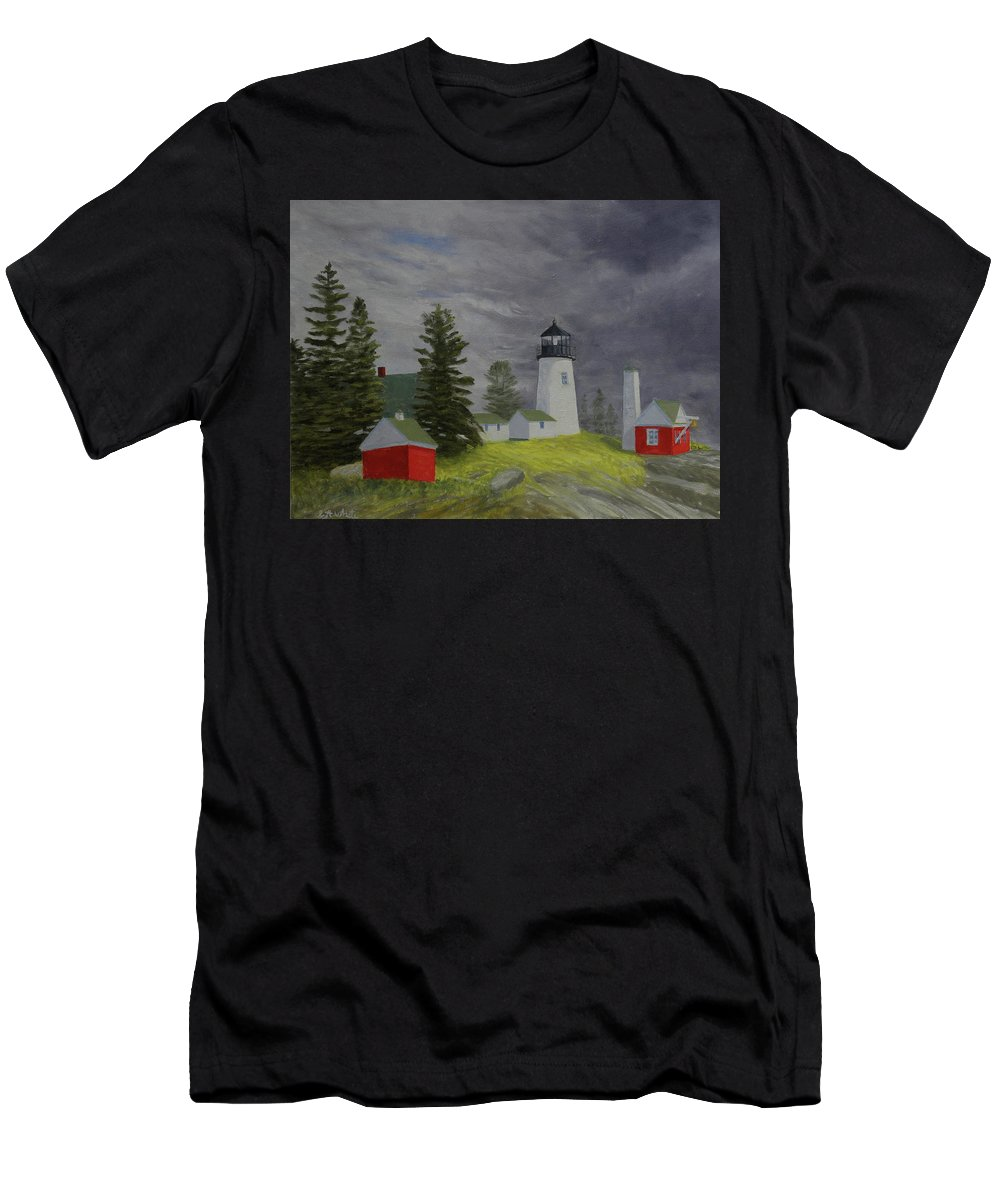 Lighthouse Storm Seascape Pemaquid Ocean Men's T-Shirt (Athletic Fit) featuring the painting Coming Storm by Scott W White