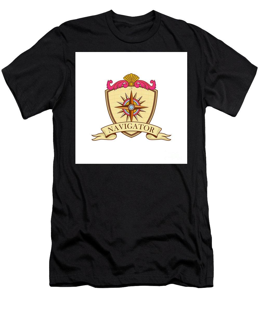 Coat Of Arms Men's T-Shirt (Athletic Fit) featuring the digital art Compass Navigator Coat Of Arms Crest Retro by Aloysius Patrimonio