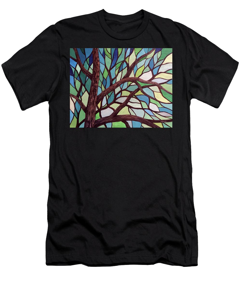 Stained Glass Style Painting Tree Green Blue Men's T-Shirt (Athletic Fit) featuring the painting Complex Conjugate by Beth Waltz