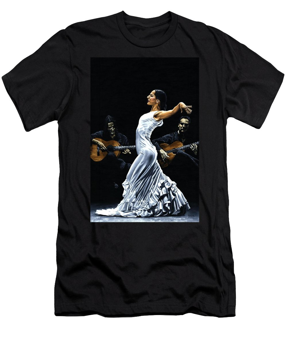 Flamenco Men's T-Shirt (Athletic Fit) featuring the painting Concentracion Del Funcionamiento Del Flamenco by Richard Young