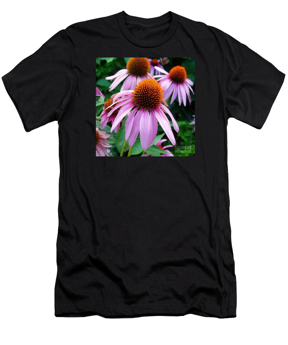 Coneflowers Men's T-Shirt (Athletic Fit) featuring the photograph Three Coneflowers by Nancy Mueller