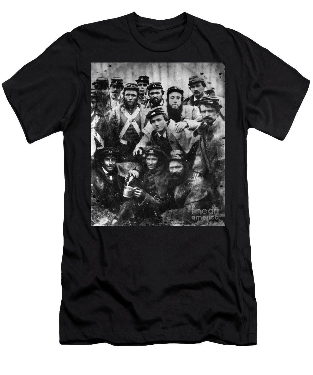 1861 Men's T-Shirt (Athletic Fit) featuring the photograph Confederate Soldiers, 1861 - To License For Professional Use Visit Granger.com by Granger