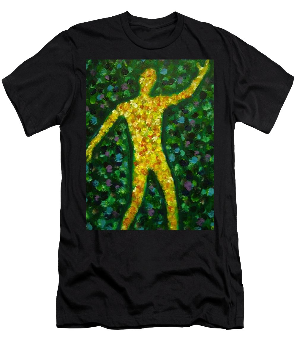 Acrylic Painting... Men's T-Shirt (Athletic Fit) featuring the painting Conflict And Contrast by Jan Gilmore
