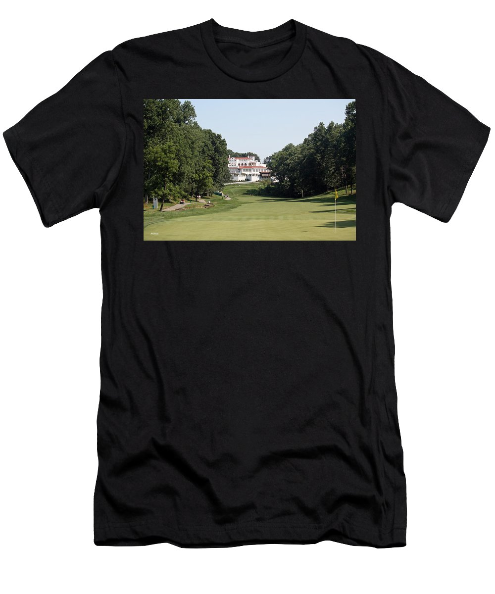 Congressional Men's T-Shirt (Athletic Fit) featuring the photograph Congressional Blue Course - Par 5 11th by Ronald Reid