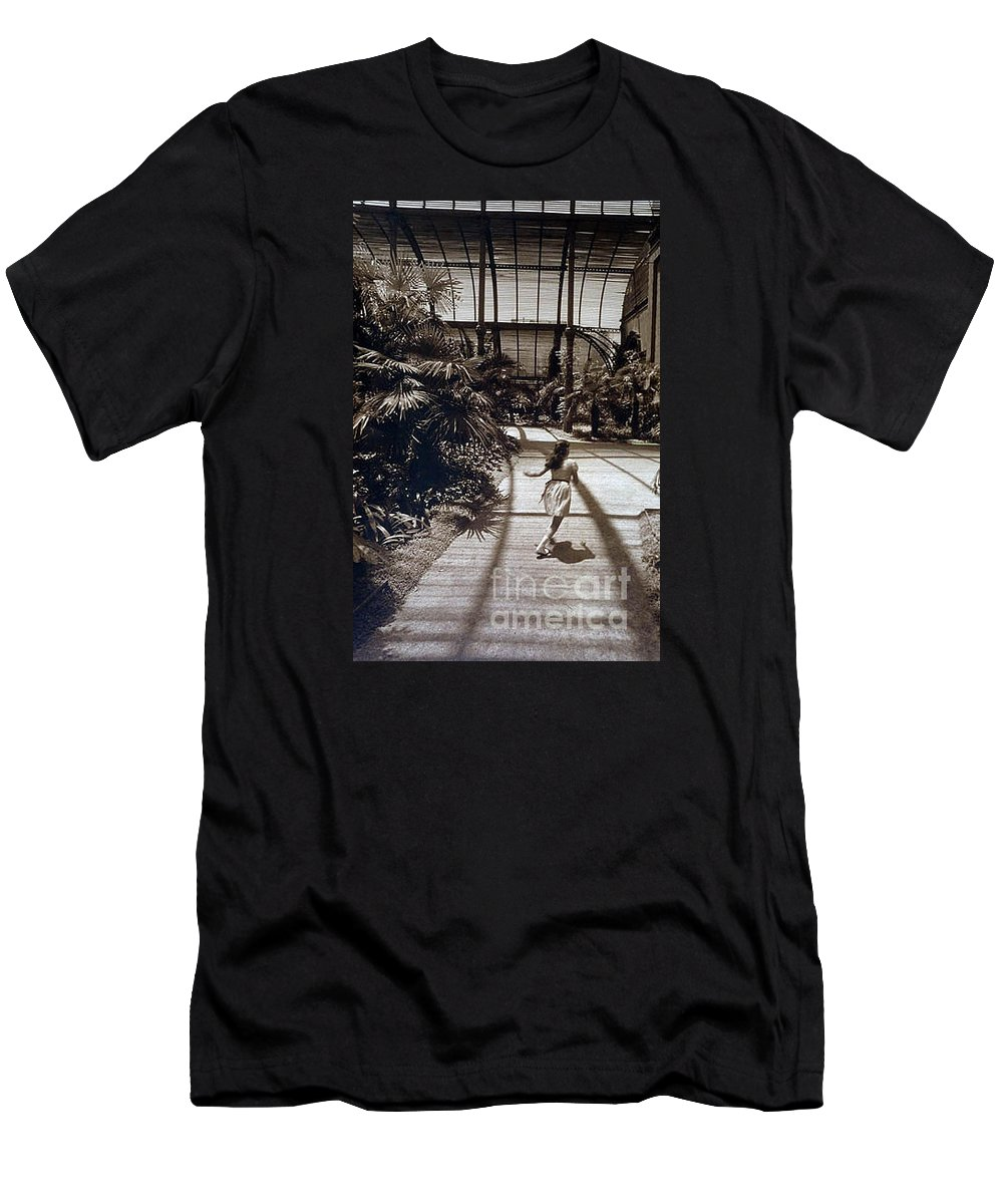 Sepia Men's T-Shirt (Athletic Fit) featuring the photograph Conservatory, Barcelona 1976 by Michael Ziegler