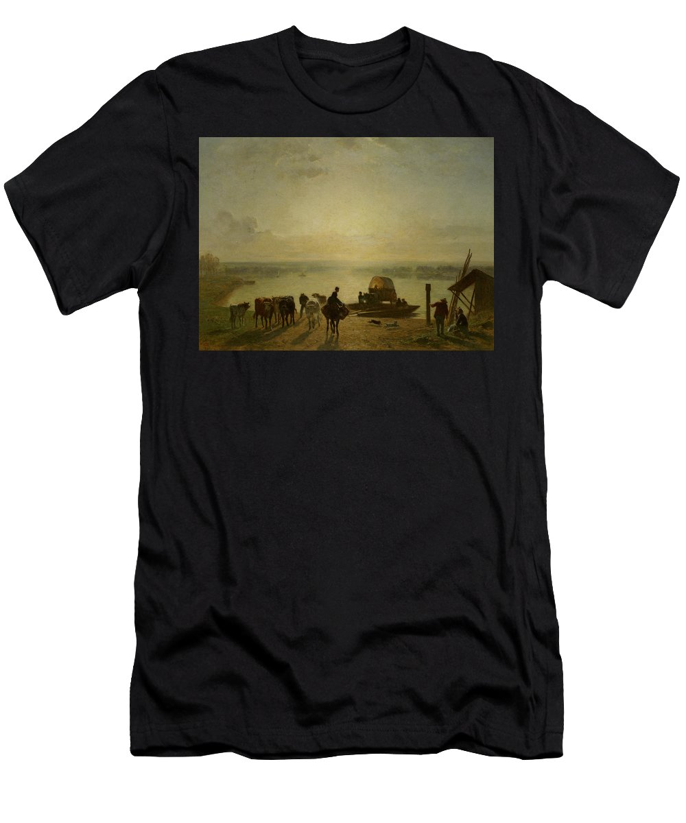 Unloading The Ferry - Constant Troyon Men's T-Shirt (Athletic Fit) featuring the painting Constant Troyon by MotionAge Designs